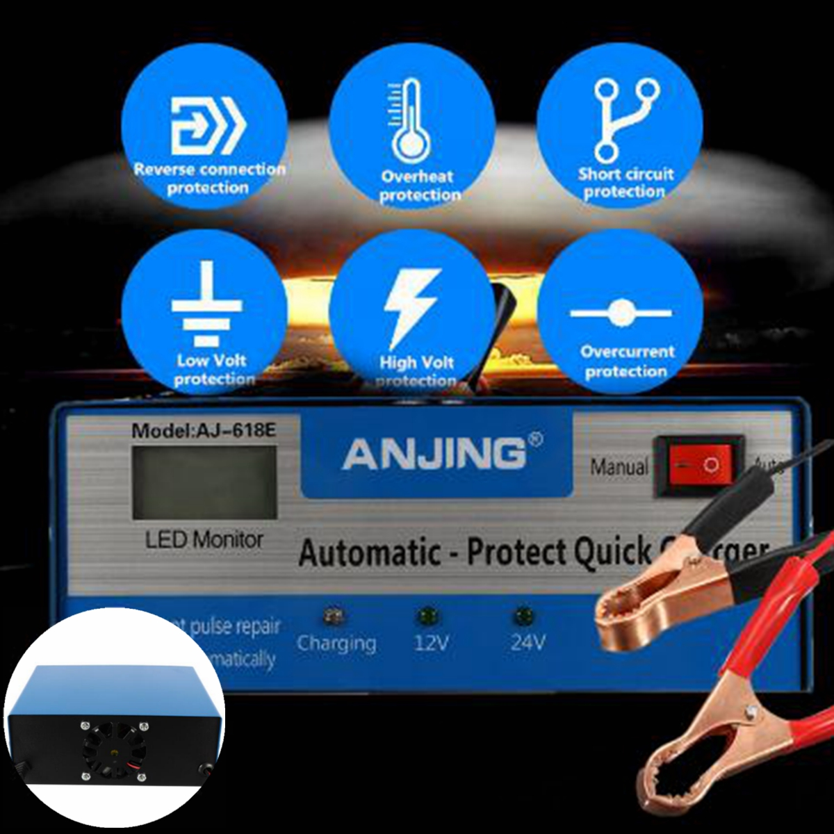 Autoleader 12V/24V Lead Acid Battery US Plug Car Battery Charger Applicable to PWM Five Charging Modes Digital Repairing Method