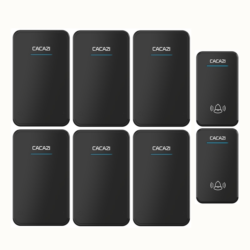 CACAZI DC battery-operated door bell 2 waterproof buttons+6 receivers wireless doorbll 48 rings door chime electronic ring bell cacazi newest smart home doorbell 2 waterproof buttons 2 receivers 300m remote wireless door bell ac 75 250v 52 rings door chime