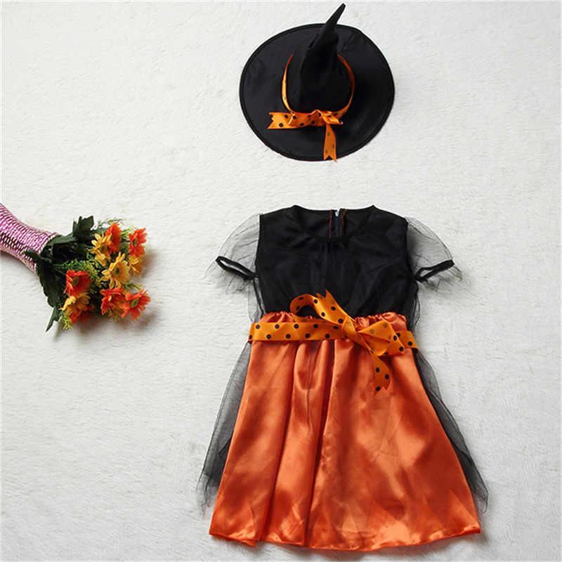 2018 Новое поступление Хэллоуин вечерние Для детей костюм ведьмы для косплея, для девочек, костюм для Хэллоуина, вечерние Детские платья со шляпой
