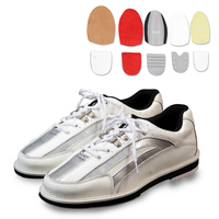 Mens Bowling Shoes With Interchangeable Soles Heels Black Blue SIZE 46