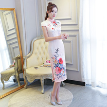 Traditional Chinese Women Satin Slim Dress New Arrival Qipao Print Sexy Mandarin Collar Handmade Button Cheongsam S-XXXL