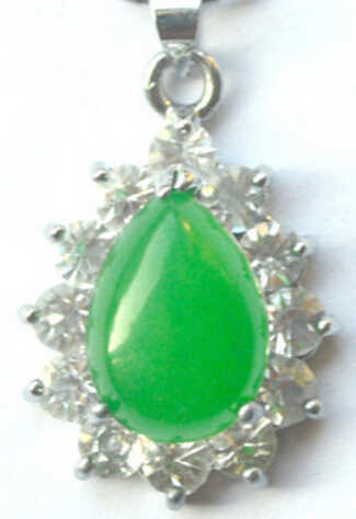 109ZHAO ++AA+++ Noblest Pendant With  Green Necklace + Chain