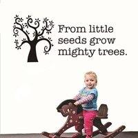 Küçük Tohumlar itibaren Mighty Ağaçları Büyümek Için İlham Alıntı Duvar Çıkartması Diy Vinil Çıkartmalar Çocuk Odası Ev Dekorasyon Aksesuarları