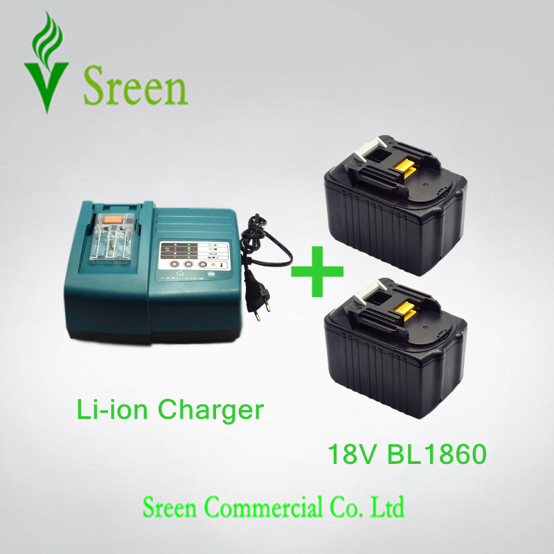 2 x 6000mAh Rechargeable Li-Ion Battery with Universal Power Tool Battery Charger Replacement for Makita 18V BL1830 BL1815 New power tool rechargeable battery charger for makita dc18rc li ion battery rapid 9a charger bl1415 bl1430 bl1815 bl1830