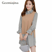 2018 spring autumn Pregnancy clothing round neck vest+shirts two sets medium length long sleeve striped shirt maternity wear XXL
