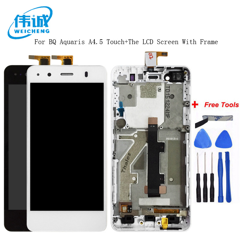 WEICHENG 2018 New Top Quality  LCD for BQ Aquaris A4.5 LCD Display+Touch Screen Assembly with frame +Tempered glassWEICHENG 2018 New Top Quality  LCD for BQ Aquaris A4.5 LCD Display+Touch Screen Assembly with frame +Tempered glass