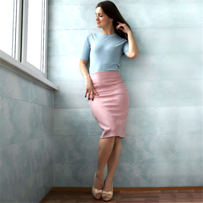 Neophil 19 Winter Women Suede Midi Pencil Skirt High Waist Gray Pink XXL Sexy Style Stretch Wrap Ladies Office Work Saia S1009 10