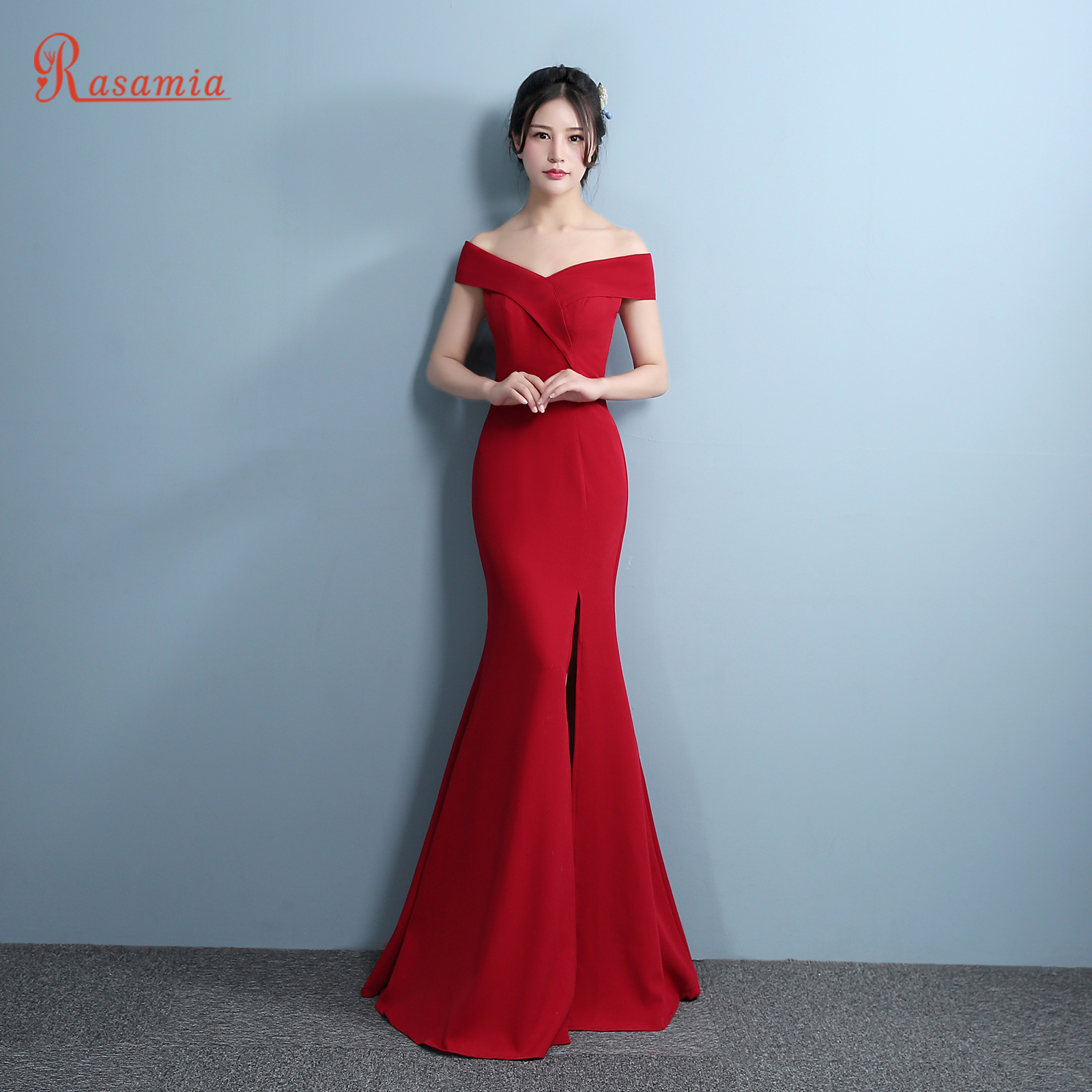 Red Gown Mermaid Prom Dress Side Split Elegant Formal Evening ...