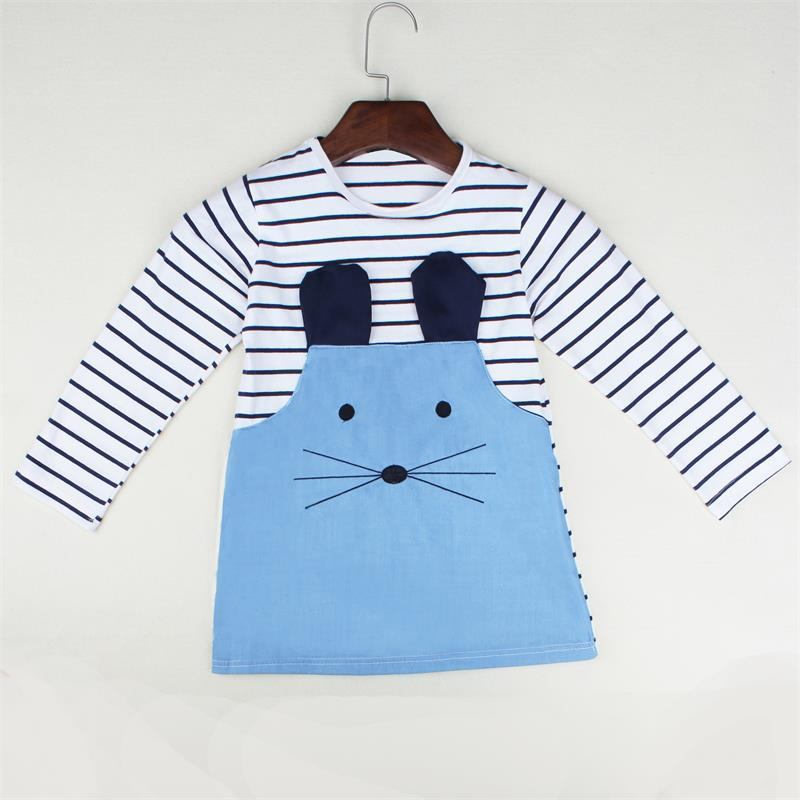 2-6 Years Cute Mouse Print Baby Girl Stripes Dress Long Sleeve Blue Color Princess Girls Dress A-line Girl Spring  Dresses 2017 new elecom 2 4g mini mouse vwith charging for home office general balls the mouse girl