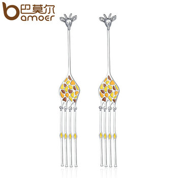BAMOER дизайн нового серебра Цвет Гипербола Симпатичные Жираф животных длинные серьги для Для женщин модные серьги YIE111