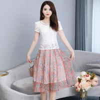Floral Printing O Neck Short Sleeve Lace Dresses Women A Line Hollow Out Fashion Ladies Chiffon Party Dress Plus Size 5XL