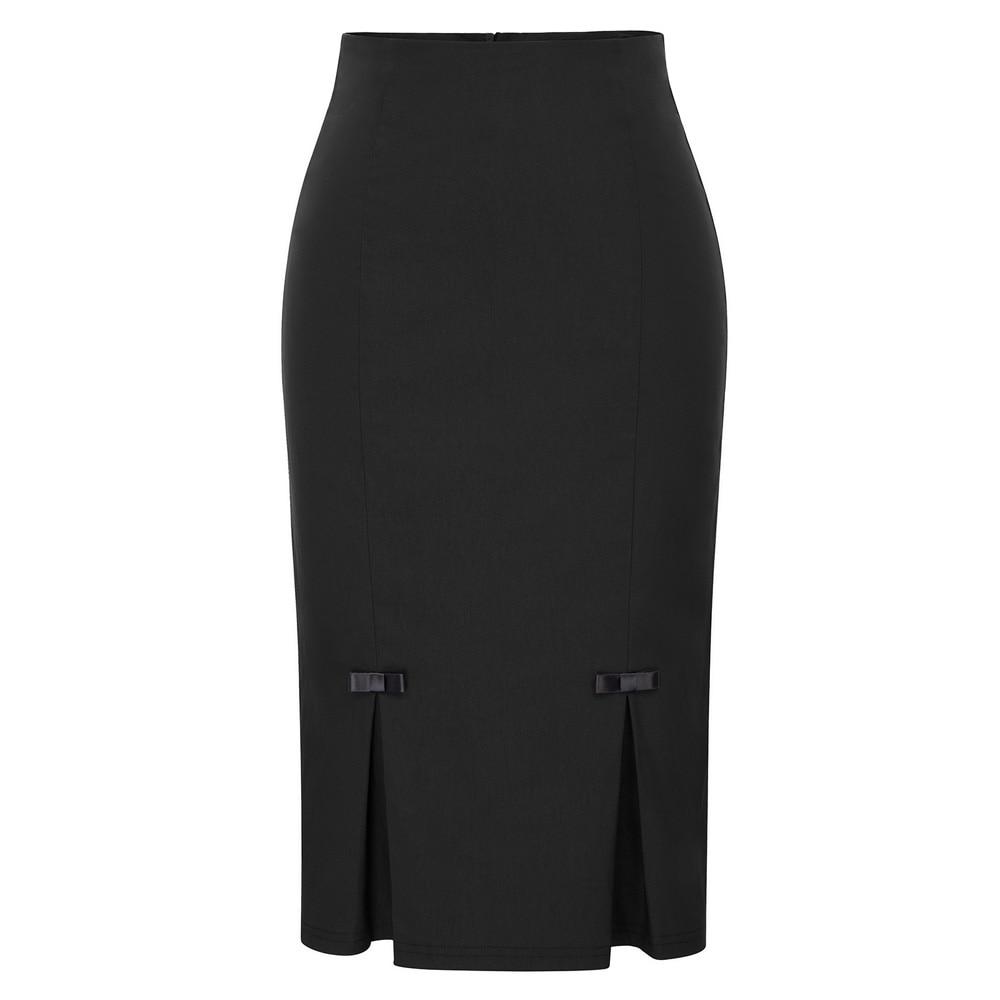 Woman Pencil Skirt Summer Women Faldas Mujer Vintage Retro Bow-Knot  Hips-Wrapped black Gray high waist Bodycon Officel Skirt