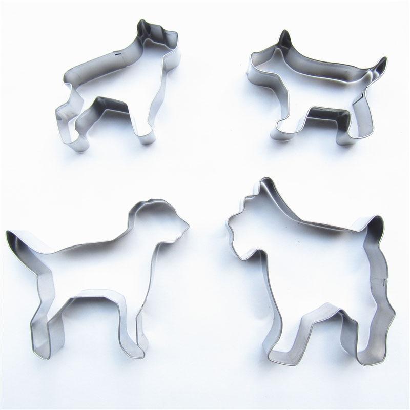 Čtyři druhy slavných psů z nerezavějící oceli červená Práškové stříkací proces 4 ks / sada