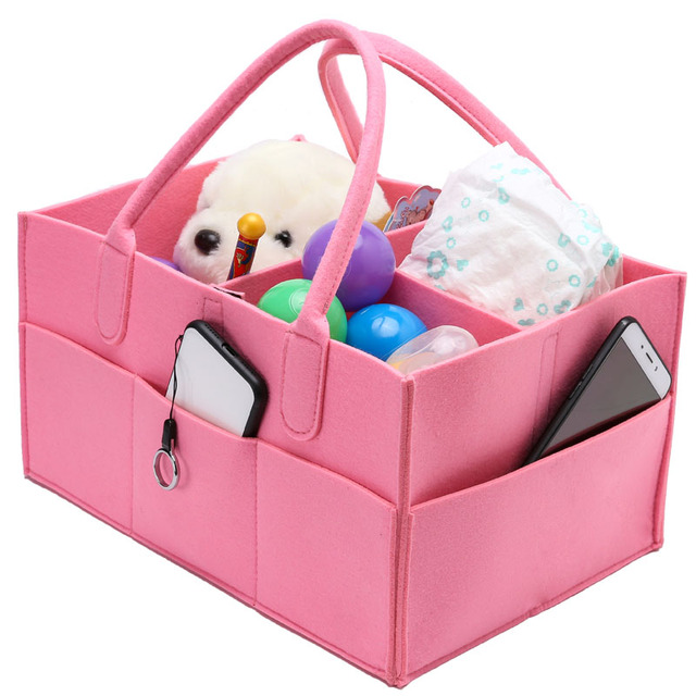 Baby Diaper Caddy Removable Dividers Nursery Storage Bin Felt Portable Organizer Bag Basket For Closet