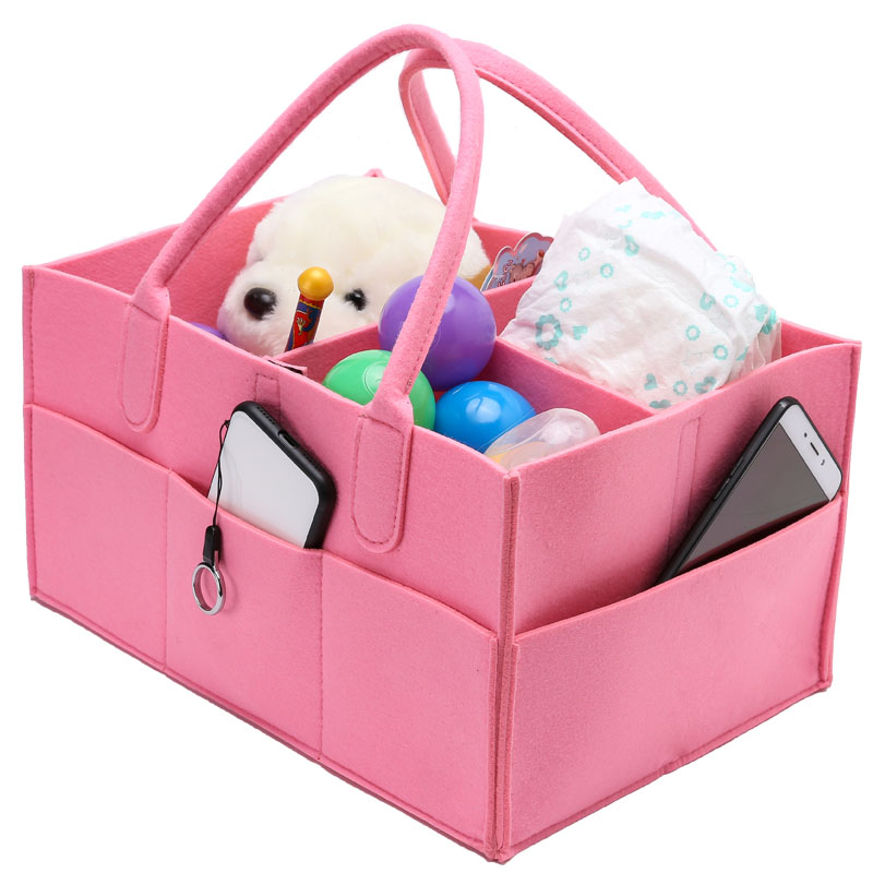 Baby Diaper Caddy,Removable Dividers Nursery Storage Bin Felt Portable Organizer Bag Basket for Closet Bedroom Car Travel