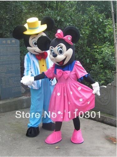 Nuovo formato adulto topolino e minnie mouse cartoon mascot costume