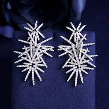 JaneKelly Fashion AAA sześcienne cyrkonie fajerwerki w kształcie pełnymi kamieniami drop kolczyki wspaniałe damskie akcesoria biały kolor tanie tanio Miedzi TRENDY Moda E705101 Spadek kolczyki Kropla wody Cyrkonia Kobiety