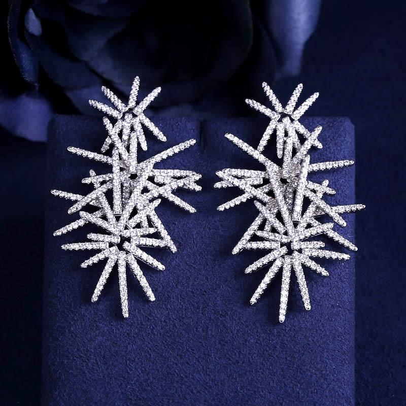 JaneKelly Mode AAA cubique zircone feux d'artifice en forme de pleine pierres boucles d'oreilles, femmes magnifiques de complices, blanc couleur