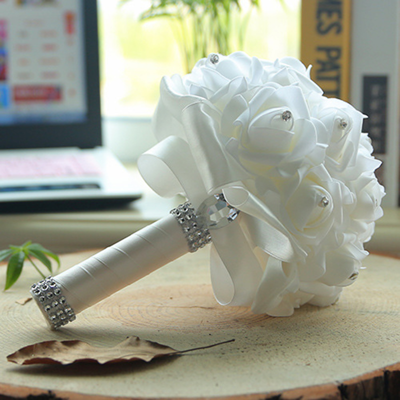 Wedding-Bouquet Artificial Flower Rose Handmade Pink White With Ribbon Romantic Bridal