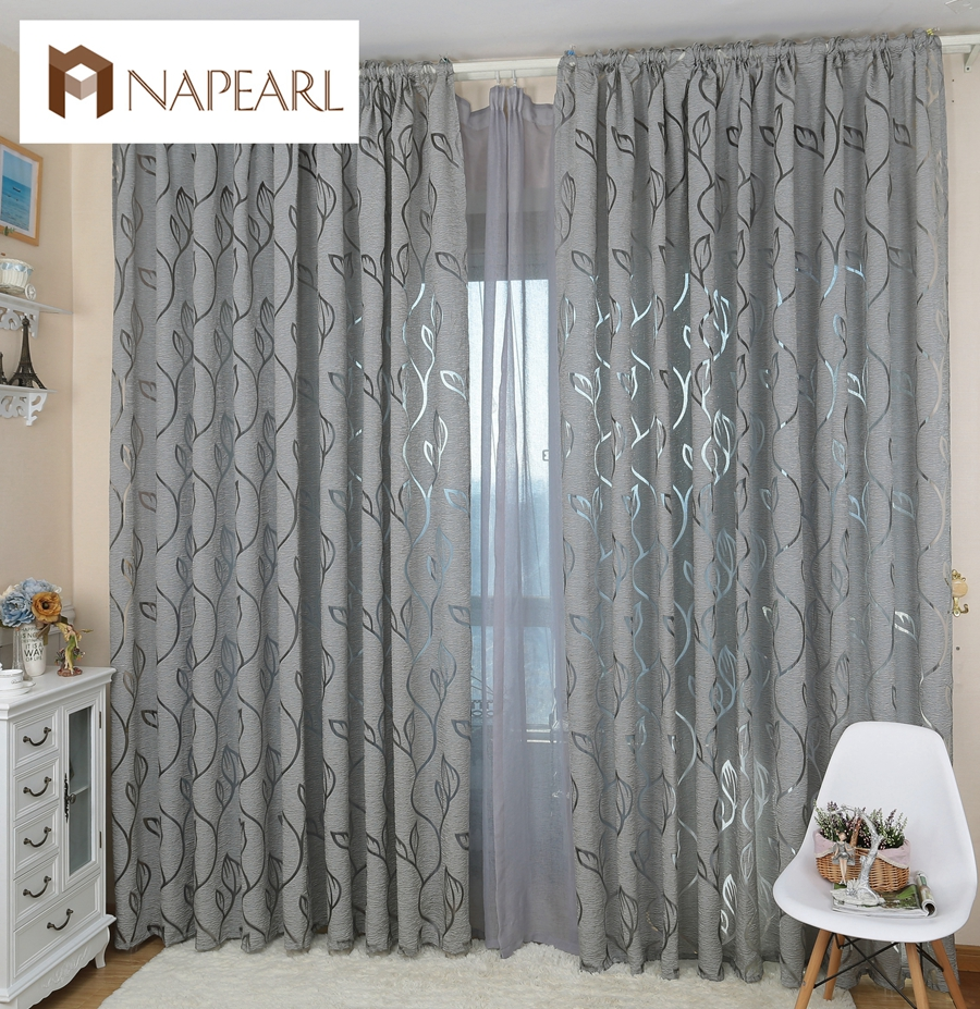 Modern decorative curtains jacquard gray curtains window for Curtains for bedroom windows with designs