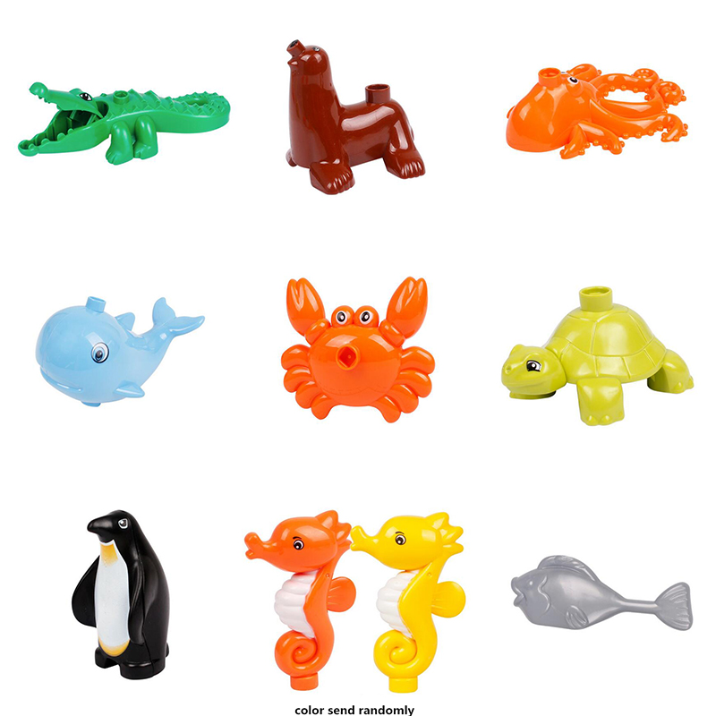 Classic Animal Ocean Zoo Big Building Blocks Child Kids Toys DIY Set Bricks toys for children Brinquedos Compatible with Duploe child early educational toys alice board cartoon animal zoo wood blocks hand crafted brain teaser candy color gift for boy girl
