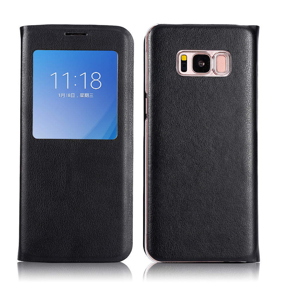 Black Flip Wallet Leather Case for Samsung Galaxy S8 S8 Plus Phone Protector Back Cover Cases with Card Holder or View Window