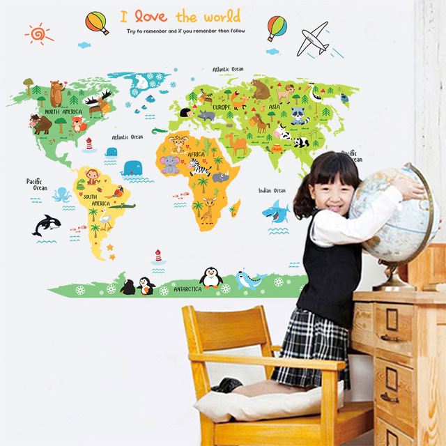 cartoon colorful animal world map wall stickers for kids rooms