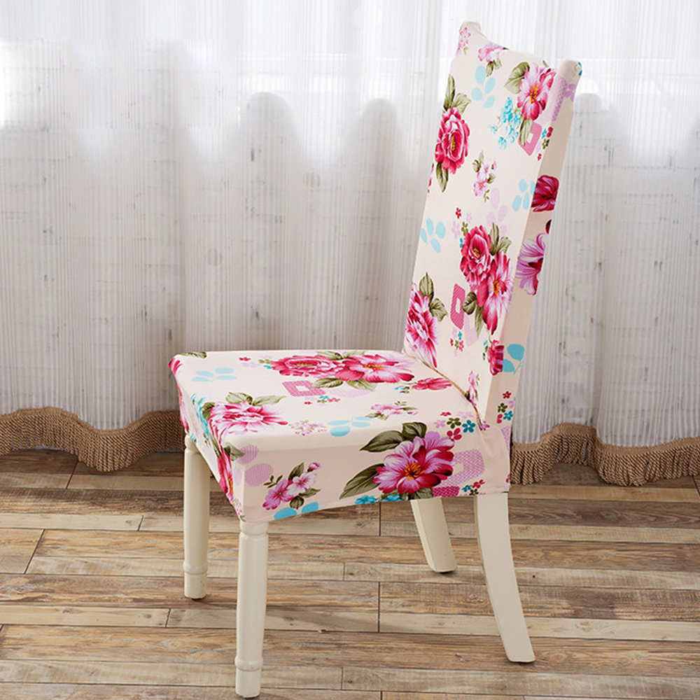 Yazi 6PCS Pink Flower Super Fit Stretch Seat Cover Dining Room Chair Slipcover Removable Wedding Banquet Party In From Home Garden On