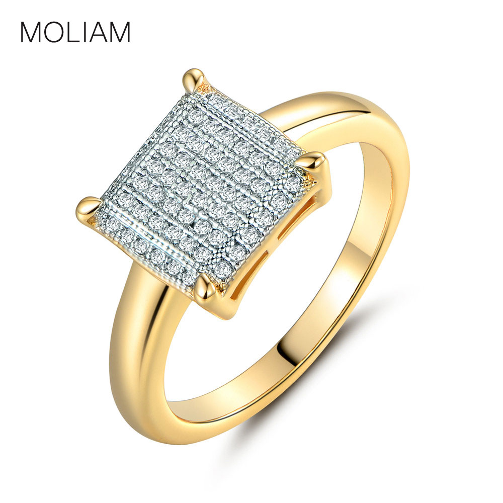 MOLIAM Fashion Bryllup Ringe til Kvinder Guldfarve Crystal Cubic Zirconia Square Form Ring Smykker MLR229