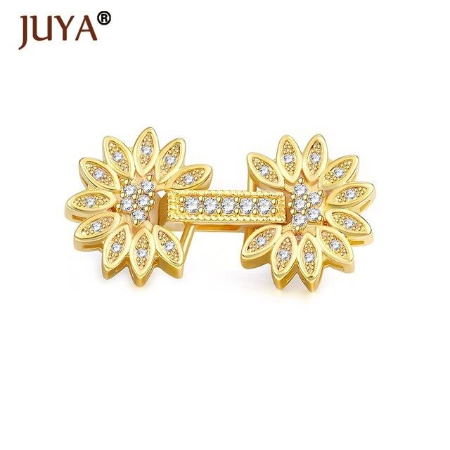 Fournitures de fabrication de bijoux fermoirs de fleurs en strass de cuivre pour bricolage