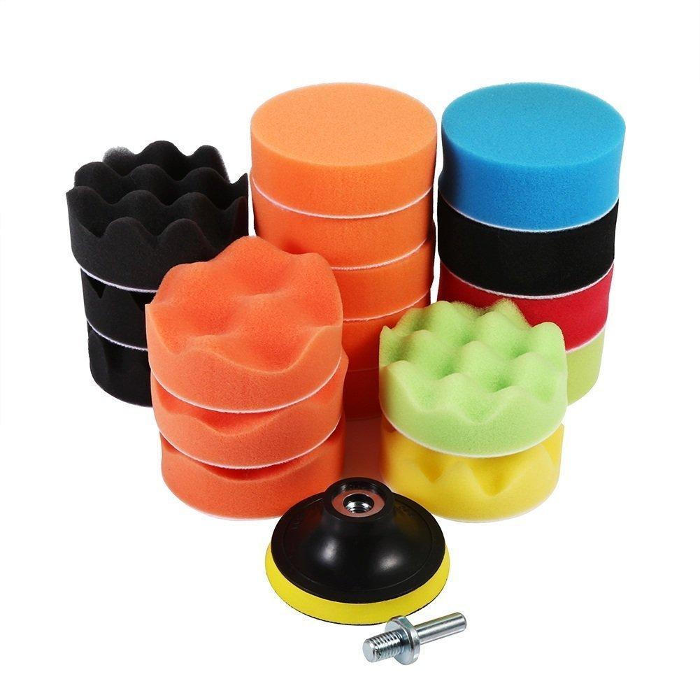 19pcs 3 inch Waxing Polishing Foam Sponge Buffing Pads M10 Drill Adapter for Car Polishing Cleaning