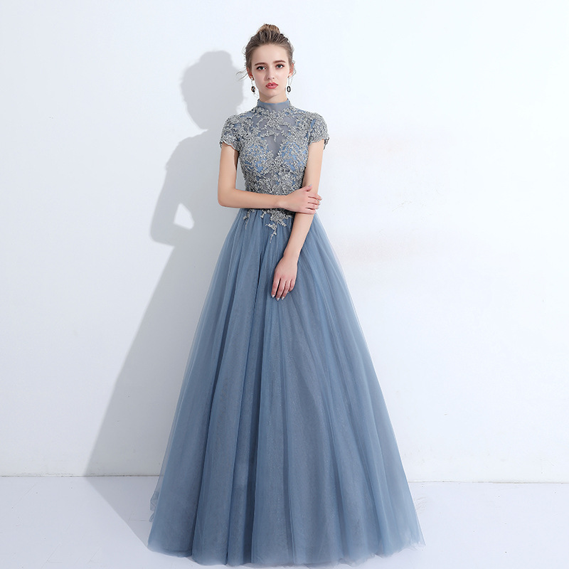 Robe De Soiree Fashion Lace Beading High  Long Evening Dresses Bride Banquet Elegant Floor-length Party Prom Dress
