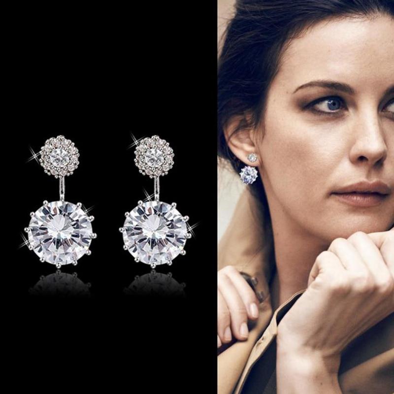 Silver Color CZ Stone Earrings for Women Fashion After Hanging Dual usage Cubic Zircon Dangle Earrings Jewelry Bijoux