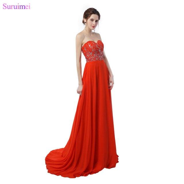 Orange Prom Dresses Chiffon Floor Length Sweetheart Beaded Long Prom ...