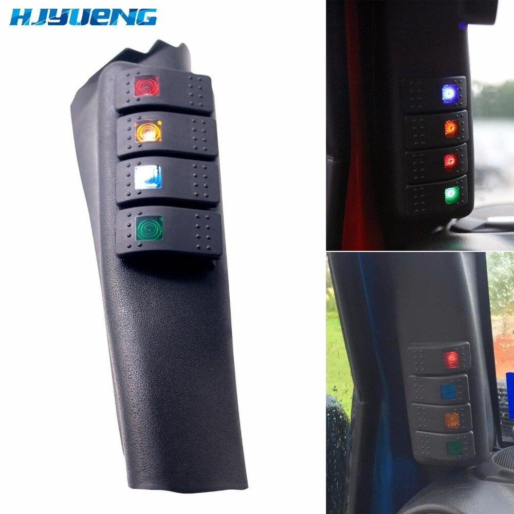 1 StÜcke Links/rechts Ein Säule Switch Panel Kit Mit 4 Led Boat Wippschalter Für 2007-2015 Jeep Wrangler Jk