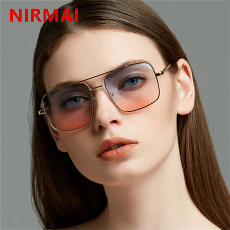 c948a1376e6 NIRMAI Men Women Sunglasses Retro Square Sun Glasses Fashion Ocean Clear  Yellow Pink Color Sunglass small