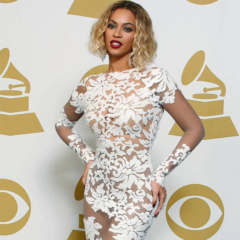 Beyonce in white lace dress