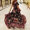 Hot Sale Mulheres Maxi Vestido Longo Verão 2016 Boho Das Senhoras Sexy Com Decote Em V Floral Impressão Vestidos De Divisão Do Vintage Ocasional Longo Robe Vestidos