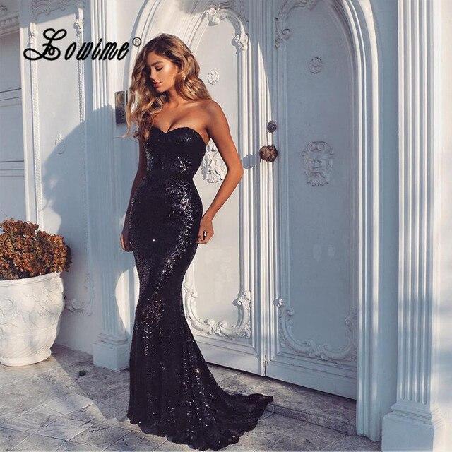 Amazing Black Sequin Prom Dresses Slim Mermaid Long Evening Gowns