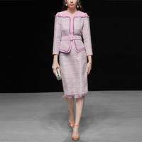 wreeima 2019 Spring Womens Tweed Suits Runway 2 Piece Set Slim Tassel Patchwork Jacket + Fashionable Pencil Skirt Sets Women