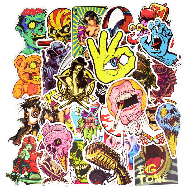 100Pcs Zombie Monsters Stickers For Suitcase Skateboard Laptop <font><b>Cell</b></font> <font><b>Phone</b></font> Motorcycle Bicycle <font><b>Car</b></font> <font><b>Accessories</b></font> Punk Stickers