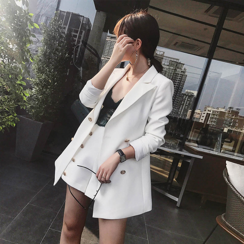 Office Lady Vintage Short Suit set Elegant 2 Piece Set Solid Women Tracksuit Jacket Blazer + Fashion Hot Mini Shorts