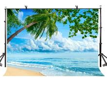 7x5ft Natural Scenery Backdrop Blue Sea Water Green Coco Photography Background and Studio Props