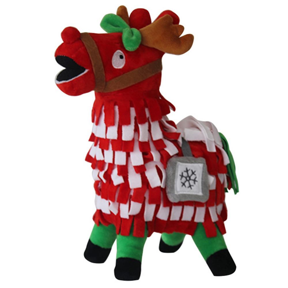 Christmas Llama Stuffed Dolls 30cm Game Alpaca Fortress Night Dolls Plush Toy Cartoon Rainbow Horse Toy Child Collection Gift