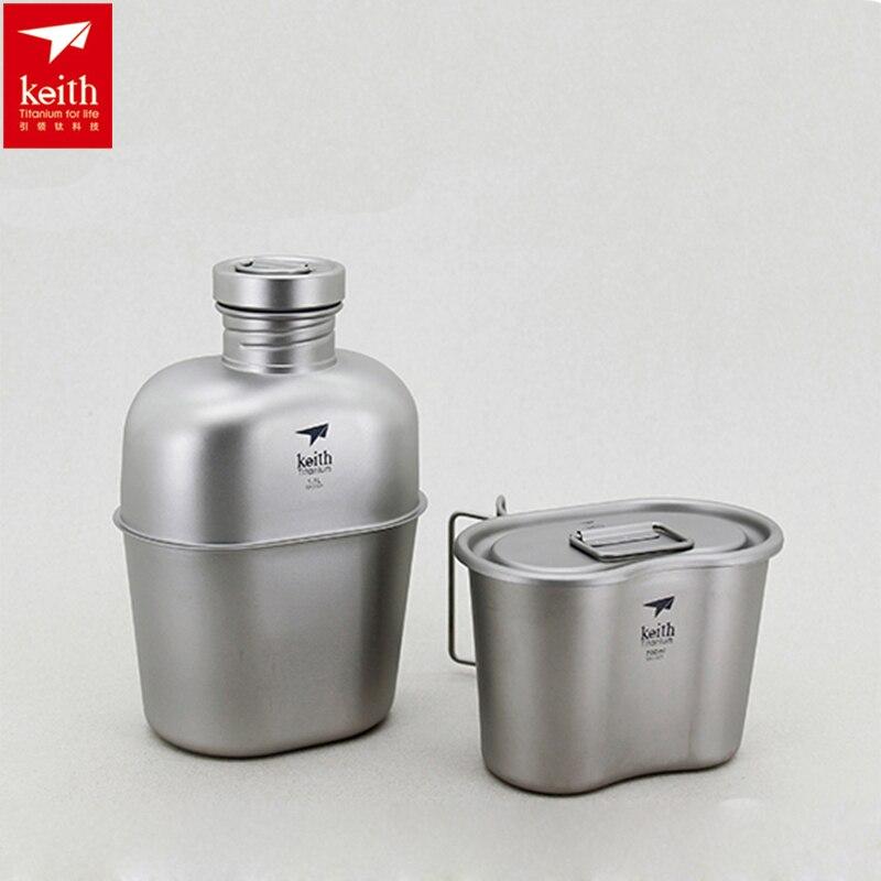1100 ml + 700 ml Keith Militaire Bouteille D'eau Ensemble Titane Pot Cantine Tasse Camping En Plein Air à Double usage de L'eau bouteille Ti3060