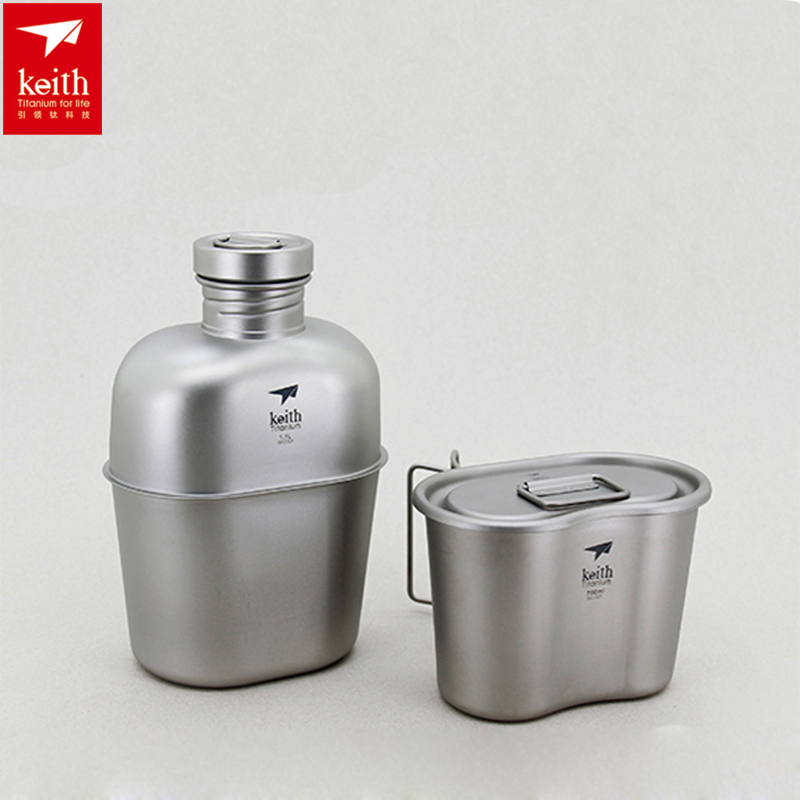 1100ml+700ml Keith Military Water Bottle Set Titanium Pot Canteen Cup Outdoor Camping Dual-use Water Bottle Ti3060 цена