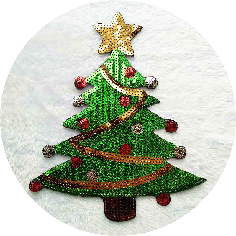 Christmas Tree Patch: 2Pcs Christmas Tree Applique Sequins Patches Sew On