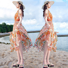 Summer beach dress Seaside resort Bohemia Long dress The New Strapless shoulder Super fairy Slim Chiffon summer women dresses 2018 limited real princess s new woman s dress ribbon chiffon bohemia long skirt and seaside resort