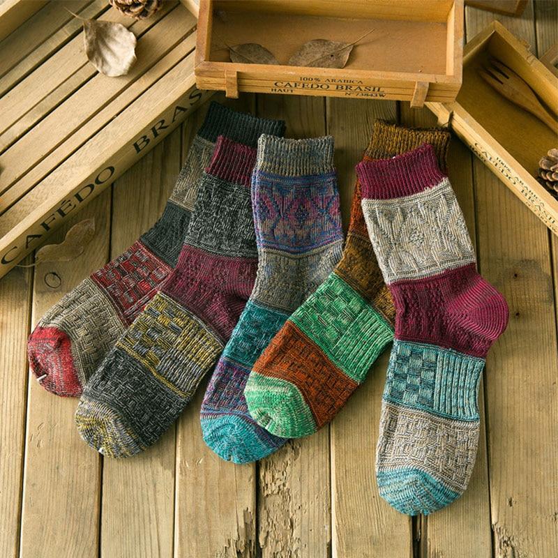 Selfless new Men Cotton Vintage Knitting Socks Women Spiral Pattern Weave Socks Winter Warm Colorful Socks Hosiery Wholesale cocotekk