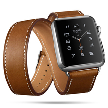 Extra Long Genuine Leather Bracelet Leather Strap Dual Band Tourbillon Bracelet For Apple Watch 3 2 1 Series 38mm 42mm 40mm 44mm